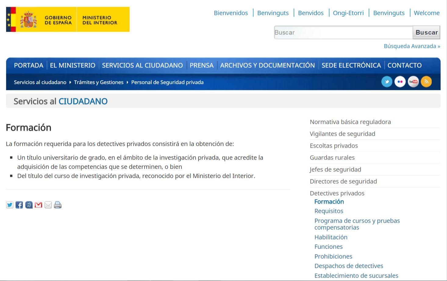 licencia oficial del ministerio del interior indagator